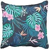 WJSW Kissenbezüge Print Tropical Vivid Tropic Laub Monstera Blatt Palmblätter Vogelparadies Blume...