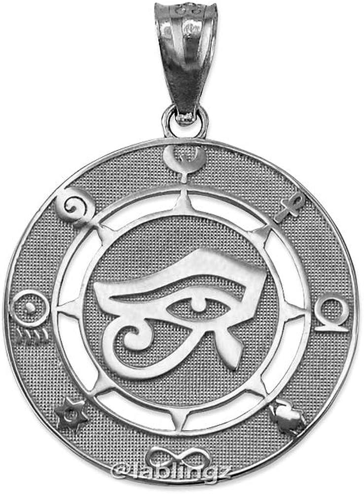LA BLINGZ 10K White Gold Eye of Horus Good Luck Amulet Pendant