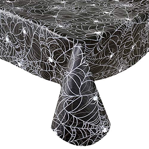 Newbridge Black Scary Spiders Web Halloween Vinyl Flannel Backed Tablecloth - Spooky Silver, White and Black Spiders Web Halloween Tablecloth, Easy Care Wipe Clean, 70 in Round