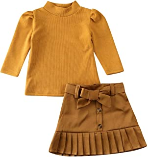 Kids Baby Girl Fall Winter Outfit Long Sleeve Pullover Sweater Shirt + Bowknot Pleated Mini Skirt Dress Clothes Set (Tutu ...