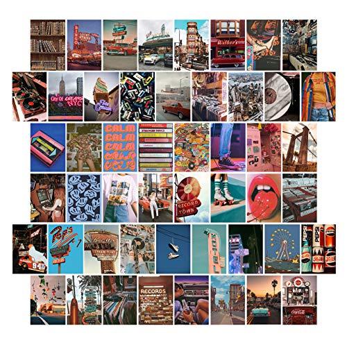 Wand-Collage-Set, Foto-Wand-Collage-Set, ästhetisch, Collagen-Druck-Kit, ästhetische Bilder für Schlafzimmer-Wände, 50 Stück Retro-Poster