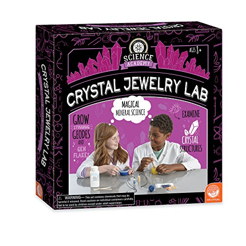 MindWare Science Academy Crystal Jewelry lab - Kids & Teens Grow 1 Crystal Ring and 2 Necklaces with Our 18pc Set - Wild & Weird Experiments for Boys & Girls - Great Educational Gift