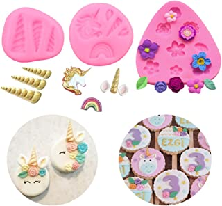 Mini Unicorn Mold Horn Ears Flowers Toppers Fondant Cake Pop Cookies for Birthday Party DIY Cake Decoration Jelly Chocolate Mold (Set of 3 )