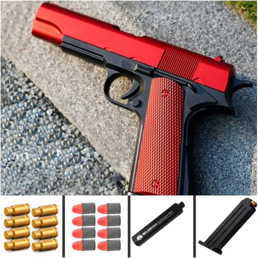 VNMG Glock & M1911 Shell Ejection Soft Bullet Toy Gun, Kids Colorful Toy Gun with Soft Bullets,Teach Shooter and Gun Safety,Real Dimensions,Fun Outdoor Game, Rubber Bullet Pistol