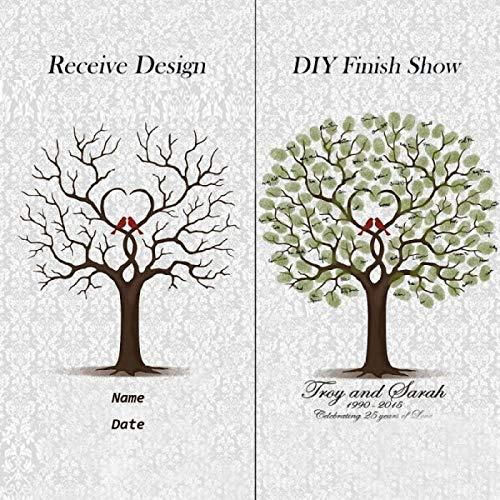 Libro de invitados de boda personalizado baby shower huella digital árbol primera...