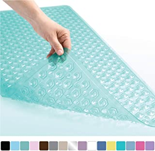 Gorilla Grip Original Patented Bath, Shower, Tub Mat, 35x16, Machine Washable, Antibacterial, BPA, Latex, Phthalate Free, Bathtub Mats with Drain Holes and Suction Cups, XL Size Bathroom Mats, Green