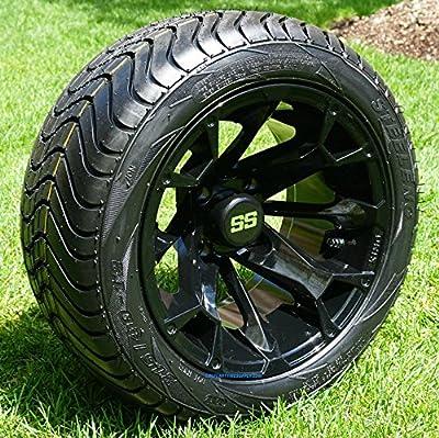 "12"" BLACKJACK Gloss Black Aluminum Wheels and 215/40-12 Low Profile DOT Tires Combo - Set of 4"