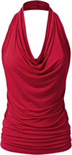 Women's Casual Halter Neck Draped Front Sexy Backless Tank Top (S-3XL)