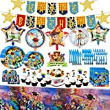 Toy Game Story Party Supplies Set, 9 + 7 Inch Cake paper Plates, Toy Game Story Forks, Spoons, Knives, Tablecover, Napkins, Banner, Invitation Cards, Cake Topper, Cupcake Toppers, Balloons, Toy Game Story Birthday Party Supplies for Kids Baby Shower Birthday Dessert Favors