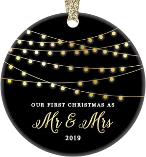 Mr & Mrs First Christmas 2019 Ornament Porcelain Keepsake Gift Idea for Husband Wife 1st Holiday Married Couple Wedding Newlyweds 3