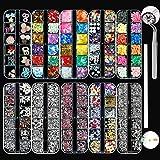 LOOHAOC 10 Boîtes Kit de Strass Ongles Nail Art Strass Décorations d'Ongles 3D-Pierres de Strass Cristaux à Ongles Colorées Mélange Diamants Paillettes avec 1 Pince à épiler et 1 Strass Picker Crayon
