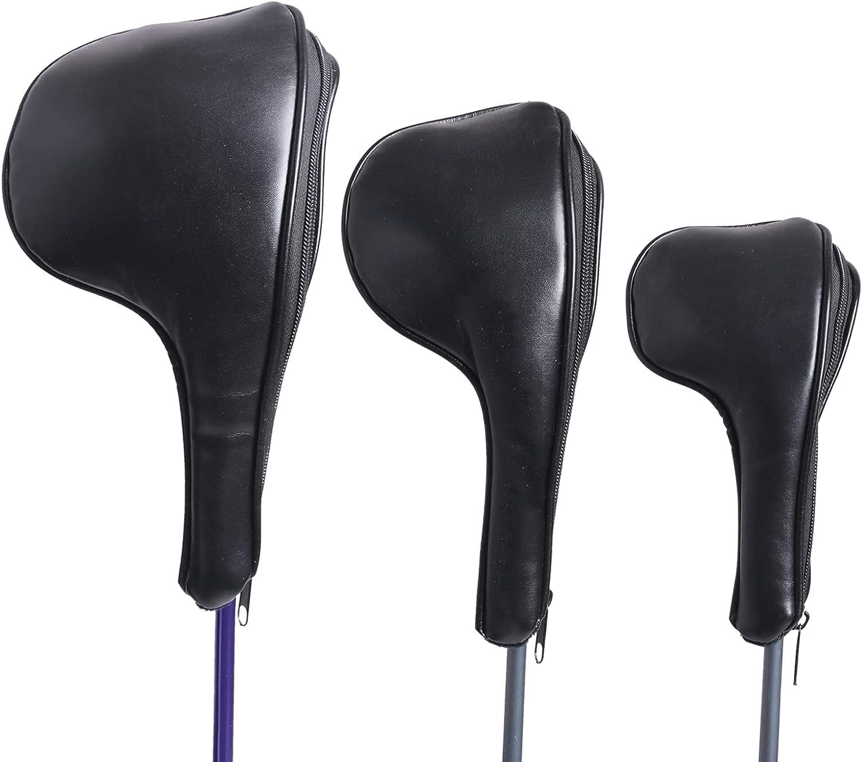 HOW TRUE Black Golf Zipper Head Covers Driver 3 5 Max 79% OFF Fairway Time sale Wood 1