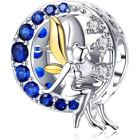 Qings Charms Hada Abalorio Pulsera Abalorio Angel Charms Plata 925 Luna Charms Pulseras para Niñas Mujer