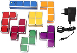 Jeffergarden DIY Puzzle Apilable Luz LED Escritorio Lámpara de Noche Bloque Construcción Juego Decoración Hogar Decoración de Mesa Luz Nocturna 100-240V(Tetris Light)