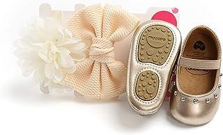 BOBORA Chaussure Antidérapants Bébé Fille Princesse Chaussures Premiers avec 2PCs Bandeau pour 0-18Mois