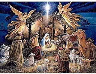 Jesus was Born Full Drill Diamond Painting by Number Kits,5D DIY Diamond Embroidery Rhinestone Cross Stitch Chrismas Gift Mosaic Paintings Pictures Arts Craft for Home Wall Decor (20X16inch/50X40cm)