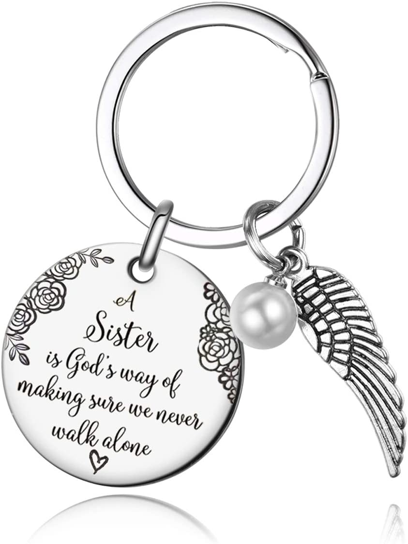 Sister Keychain - A Sister is God's Way of Making Sure We Never Walk Alone Friends Sister Keychain Gifts for Sister : Clothing, Shoes & Jewelry