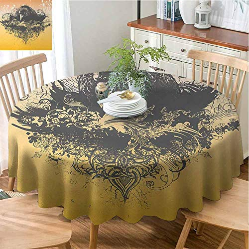 VICWOWONE Home Round Tablecloth Black Enjoy Dining Halloween Theme Vector Illustration of a Wicked Crow and Ornate Flowers Print (Round,43 Inch) Black and Mustard