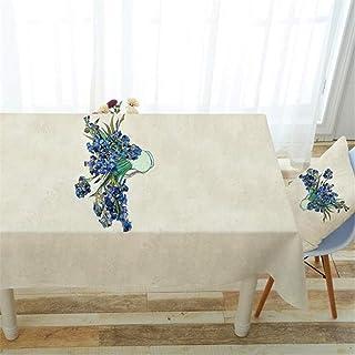 SONGHJ Flores Verdes de impresión Decorativo paño de Tabla Mantel de Lino de algodón Cubierta de Mesa de Comedor para la C...