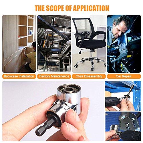 CIGOTU Universal Socket, 7mm-19mm Multifunctional Cordless Ratchet Adapter Socket Wrench Set, Impact Grade Driver Sockets Adapter Extension Set, Screwdriver Set Hex Bit + 105 Degree Right Angle Drill