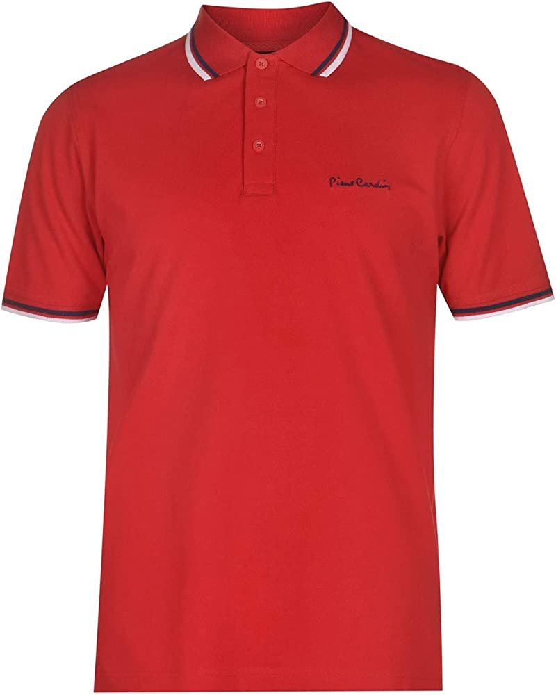Pierre cardin, polo a manica corta, maglietta per uomo, 65% poliestere, 35% cotone, rossa B000413