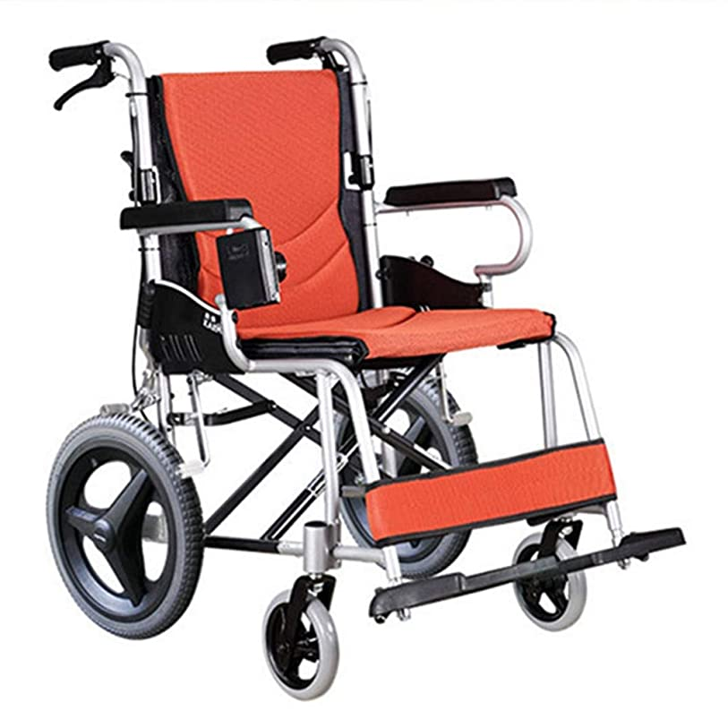 恐ろしいカード優雅折りたたみ車椅子、航空用アルミニウム合金車椅子ソリッドタイヤ、高齢者向けダブルブレーキデザイン野外活動車椅子トロリー