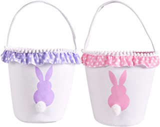 Easter Bunny Basket Eggs Bags with Fluffy Tail Pink Purple Canvas Cotton Rabbit Personalized Handbag Toys Bucket Tote Bag Storage Gifts Candies for Kids Girls with Handles (Pink + Purple)