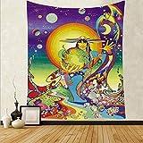WERT Tapiz de Seta de Calavera Colorida de Dibujos Animados Tapiz de Arte de Calavera mágica Sala de Estar decoración del hogar Tela de Fondo A15 73x95cm