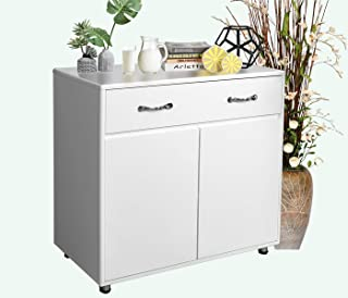 Buffet Cabinet Kitchen Sideboard with 3 Doors and 3 Drawers for Dining Room,White Storage Cabinet (1 Drawer 2 Doors)