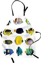 ABAKUHAUS Pez Delantal de Cocina, Collage De Los Animales del Mar, Resistente al Agua y la Suciedad Estampa Digital, Multicolor