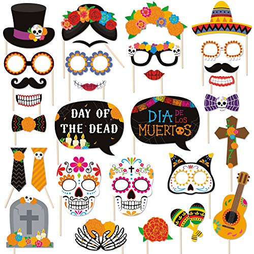 30 PCS Day of the Dead Photo Booth Props Día de los Muertos Cinco de Mayo Sugar Skull Masks Marigold Flowers Decorations for Mexican Birthday Party Wedding Bachelorette Fiesta Party Supplies
