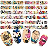 Valentines Day Nail Art Stickers Decals Lip Nail Accessories Decorations Pop Art Nail Sticker Water Transfer Nails Art Decals Beauty Decor Slider Cool Girl Lips Manicure 12 Sheets