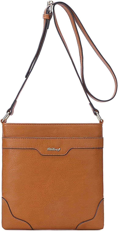 Ilishop PU Leather Functional MultiPockets Crossbody Bag for Women