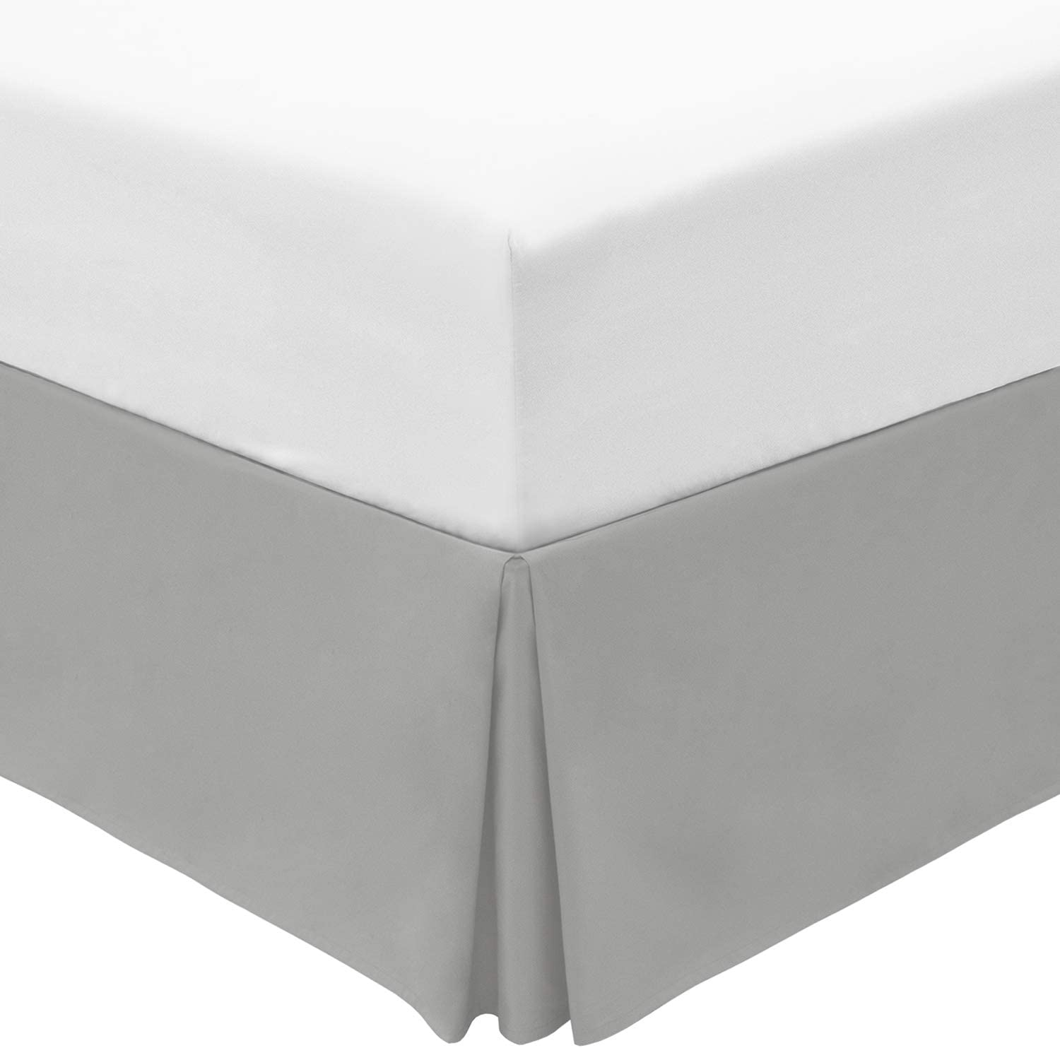 Mellanni Bed Skirt King Size - Bed Frame and Box Spring Cover - 15-Inch Tailored Drop Pleated Dust Ruffle - Luxury Bedding - Easy Fit, Wrinkle, Fade, Stain Resistant - 1 Bedskirt (King, Light Gray)