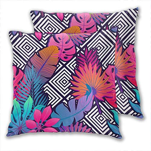 anzonto Juego de 2 fundas de almohada para niños con hojas exóticas, procesamiento de arte de plantas abstractas de pintura para el hogar, fundas de almohada para niños y niñas, 50 x 50 cm