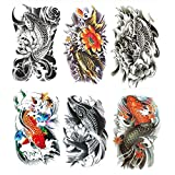 Yesallwas Temporary Tattoo for women for Men, 6 Sheets koi Fish Tattoos, Lotus, Gold carp,black fashion tattoo Body Stickers Arm Shoulder Chest & Back Make Up