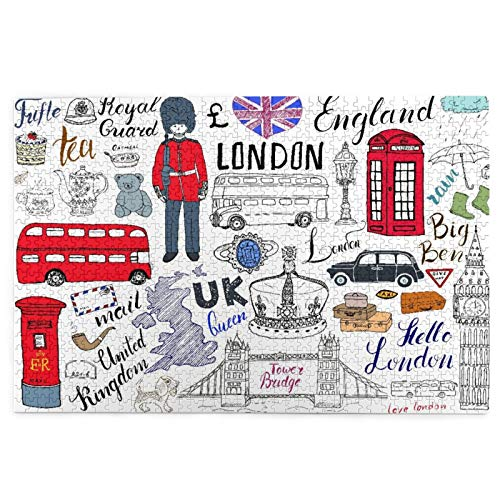 1000 Piece Jigsaw Puzzles for Kids Adults,I Love London Double Decker Bus Telephone Booth Cab Crown Of United Picture Puzzle Educational Intellectual Decompressing Toy Puzzles Fun Family Game