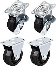 Zwenkwielen, Caster Wheels Set van 4 Casters 1.5 Inch Casters Wielen Rubber Topplaat Gemonteerd Swivel Vaste Caster Wheel,...