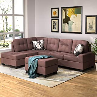 romatpretty Couches 3-Piece Modern Reversible Microfiber/Faux Leather Sectional Sofa Set w/Ottoman (Brown), M