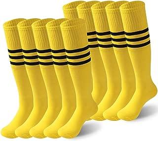 Tube Soccer Socks Stripes, Unisex Knee High Halloween Football Cheerleading Team Uniform Socks 2/6/10 Pairs