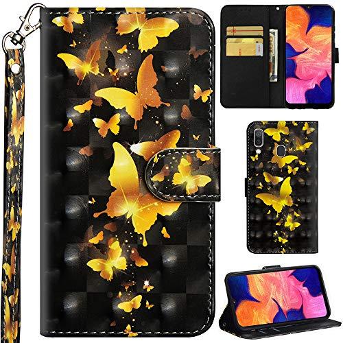 DodoBuy Samsung Galaxy A40 Hülle 3D Flip PU Leder Schutzhülle Handy Tasche Wallet Hülle Cover Ständer mit Trageschlaufe Magnetverschluss für Samsung Galaxy A40 - Gold Schmetterling