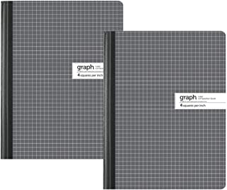 """1InTheOffice Graph Composition Book, 9.75"""" x 7.5"""" Graph Paper Notebook, 100 Sheets""""2 Pack"""""""