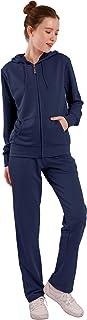 Facitisu Womens Track Suit Set 2 Piece Sweatsuits Jogging Suit Sweatshirt & Sweatpants Sport Wear Long Sleeve Outfits Navy XL