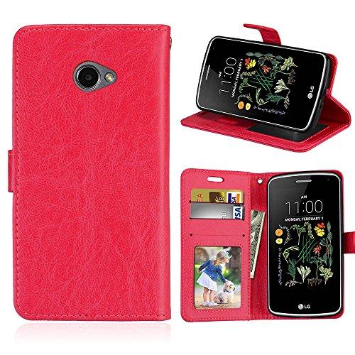 zl one Telefono Caso per LG K5 Case,PU Custodia In Pelle 3 Carte Slot Credito Flip Cover Case Chiusura Magnetica-Rosso