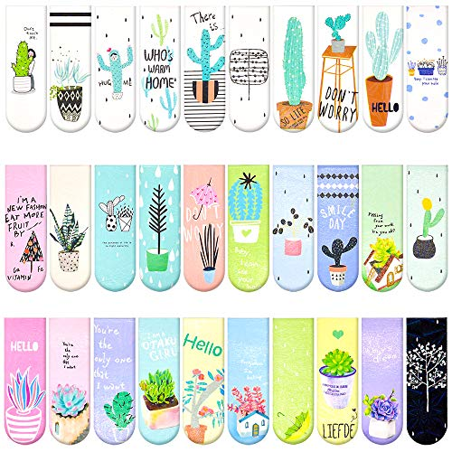 30 Pieces Cute Magnetic Bookmarks for Women/Men, Dual Sided Rainbow Film Laminated Book Markers for Girls, Funny Magnetic Bookmarks for Kids, Book Marks Bulk Page Clip Reading Giveaways (Cactus Plant)