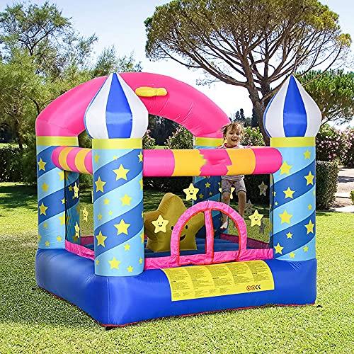 FYHpet Castillo Inflable Hinchable con Diapositiva para 2 niños Castle Springburg soplador Playuse Playhouse 3-12 años Kindergarten Oxford, Tejido de poliéster Azul + Amarillo Rosa 225 x 220 215 cm