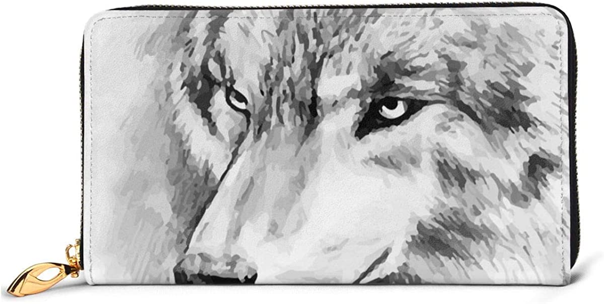 Animals Wolf Staring San Jose Mall Large Capacity Slim Rea Free Shipping Cheap Bargain Gift Around Zip Billfold