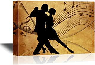 wall26 - Canvas Wall Art - Silhouette of Two Dancers on Rustic Background with Music Notes - Gallery Wrap Modern Home Decor   Ready to Hang - 16x24 inches
