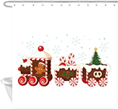 DYNH Christmas Train Shower Curtains, Cartoon Gingerbread Man Driving A Train and Pulling A Bath Curtain, Polyester Fabric Bathroom Curtain with 12 Hooks, 69X70 Inches
