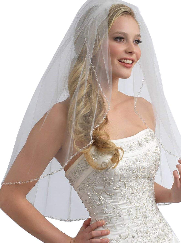 Fenghuavip Fingertip Wedding Veil Short Beaded Edge 1 Tier for Bride with Comb